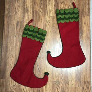 Crate and Barrel LOT of 2 Stockings Christmas Elf